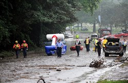 The scene of deadly flooding on Aug. 19, 2011, on Washington Boulevard at Allegheny River Boulevard, where four people were killed from flooding.