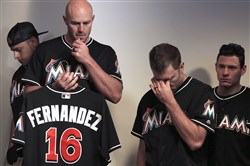 Marlins manager Don Mattingly struggles with his emotions as he speaks during the team's news conference about the death of Jose Fernandez Sunday in Miami.