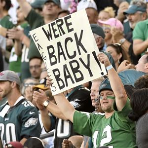 Eagles fans celebrate their team's victory over the Steelers in September 2016 at Lincoln Financial Field.
