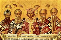 It was understood that Emperor Constantine stood in for Christ until Christ returned to institute God's kingdom on Earth. Here he appears with the Council of Nicaea, which approved the Nicene Creed in 325 A.D. in an attempt to settle early church controversies.