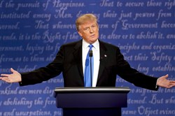 Republican presidential nominee Donald Trump speaks Monday during the presidential debate with Democratic presidential nominee Hillary Clinton at Hofstra University in Hempstead, N.Y.