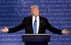 Republican presidential nominee Donald Trump speaks during the presidential debate at Hofstra University in Hempstead, N.Y., Monday night.