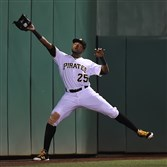 Gregory Polanco makes a catch Tuesday.