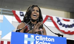 First lady Michelle Obama will rally voters today in Philadelphia and Pittsburgh.