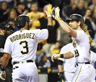 John Jaso greeted at home by Sean Rodriguez after hitting a three run homer against the Cubs at PNC Park.