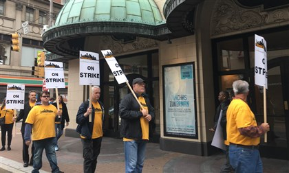 Musicians of the Pittsburgh Symphony Orchestra walk the picket line this morning in front of Heinz Hall, Downtown.