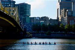 Rowers glide on Allegheny River while competing at the 30th Head of the Ohio Regatta on Oct. 1, 2016.