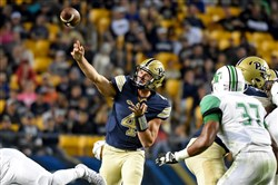 """We've been scoring points. Just have to keep finding a way like last week to finish games,"" Pitt QB Nate Peterman said."