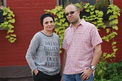 Artist and Gaza resident Mohammed Musallam and his wife, Danya Musallam.
