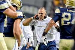 Pitt head coach Pat Narduzzi celebrates a touchdown by James Conner against Marshall in the first quarter Saturday at Heinz Field.
