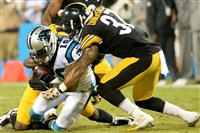 Jordan Dangerfield, helping with a tackle on Damiere Byrd of the Carolina Panthers last season, had two interceptions Sunday against the Atlanta Falcons and is making a strong push for a roster spot in the defensive backfield.