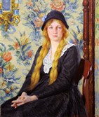 Daughter Anna Bancroft, oil on canvas, 1916, by Milton H. Bancroft.