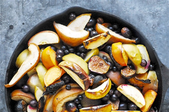 Roasted sweet seasonal fruit with a touch of honey and wine is a perfect dish for Sukkot.