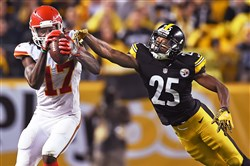 Steelers cornerback Artie Burns defends against Chiefs wide receiver Chris Conley on Oct. 2 at Heinz Field.