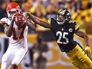 Steelers cornerback Artie Burns defends against Chiefs wide receiver Chris Conley on Oct. 2 at Heinz Field.