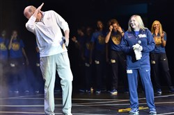 "Pitt basketball head coach Kevin Stallings shows off his ""dab"" dance move next to Suzie McConnell-Serio during ""Throwback Throwdown"" at Stage AE Saturday morning."