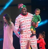 Steelers linebacker Arthur Moats and his family participate in the Steelers Style fashion show.