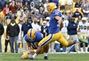Pitt's Chris Blewitt kicks the winning field goal against Georgia Tech Saturday at Heinz Field.