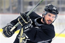 Sidney Crosby, shown here in June, sustained a concussion during practice Oct. 7.