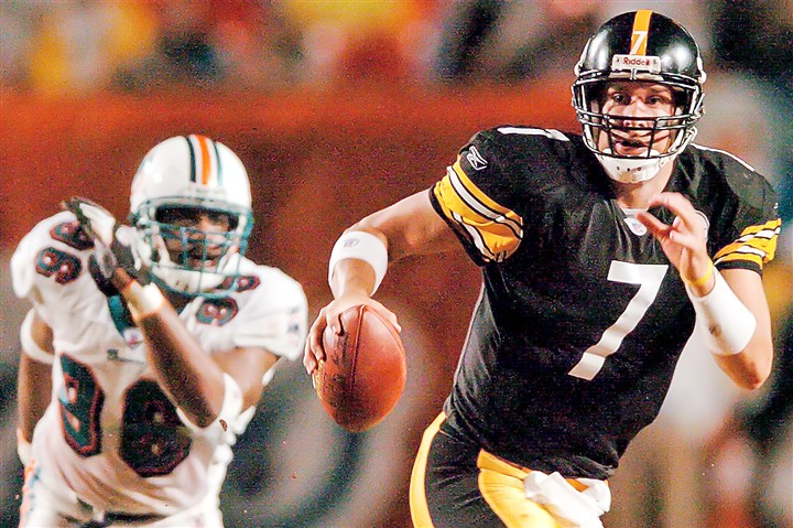9sl00kng Ben Roethlisberger's first NFL start was 12 years ago against the Miami Dolphins in the aftermath of Hurricane Jeanne.
