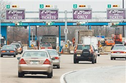 Vehicles drive into the Fort Washington Interchange of the Pennsylvania Turnpike.