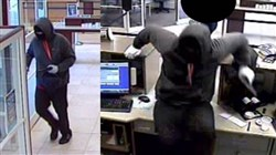 Police released this screen shot of the robbery suspect from a bank surveillance camera.