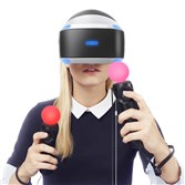 A model shows the PlayStation VR headset. she also is using two Move Controllers, which serve as representations of a player's hands, or what they might be holding, inside a virtual reality game.