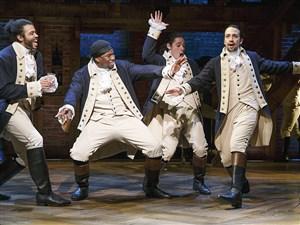 "Daveed Diggs, left, Okieriete Onaodowan, Anthony Ramos and Lin-Manuel Miranda in ""Hamilton"" on Broadway."