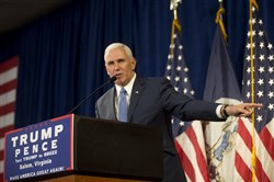Republican vice presidential nominee Mike Pence speaks at the Salem Civic Center in Salem, Va., on Wednesday.
