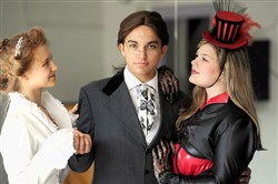 "From left, cast members of the Pittsburgh Musical Theater and the CAPA Orchestra's joint production of ""Jekyll & Hyde"" Elena Doyno, playing Emma Carew, Nick Cortazzo, playing Dr. Jekyll and Mr. Hyde, and Sabina May, playing Lucy Harris."