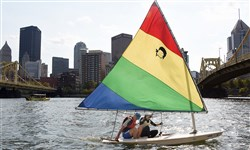 Rob and Olga Noll  of the Deutschtown,  sail down the Allegheny River in October.
