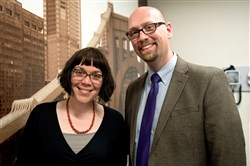 Sarah McBeth, doctor for the new medical clinic, and Sean DeYoung, chief executive officer of the Pittsburgh AIDS Task Force, at the newly renovated PATF facilities.