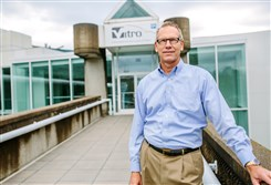 Dick Beuke, vice president of U.S. and Canada operations for Vitro, stands in front of the company's Harmar facility on Monday.
