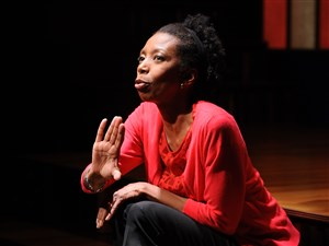 "Sharon Washington performs scenes from ""Feeding the Dragon,"" her one-woman show based on her childhood."