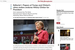 A screen capture from The Daily Pennsylvanian and its joint endorsement of Hillary Clinton with The Wellesley News.