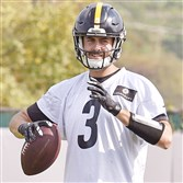 Steelers quarterback Landry Jones throws during practice Wednesday afternoon on the South Side.