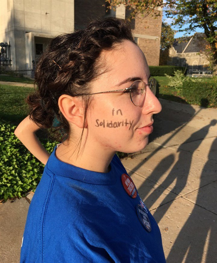 "CvIZfdKXEAAa_V4.jpg Sabina Sister, 21, a West Chester University senior from Israel, said: ""I strongly support the faculty."""