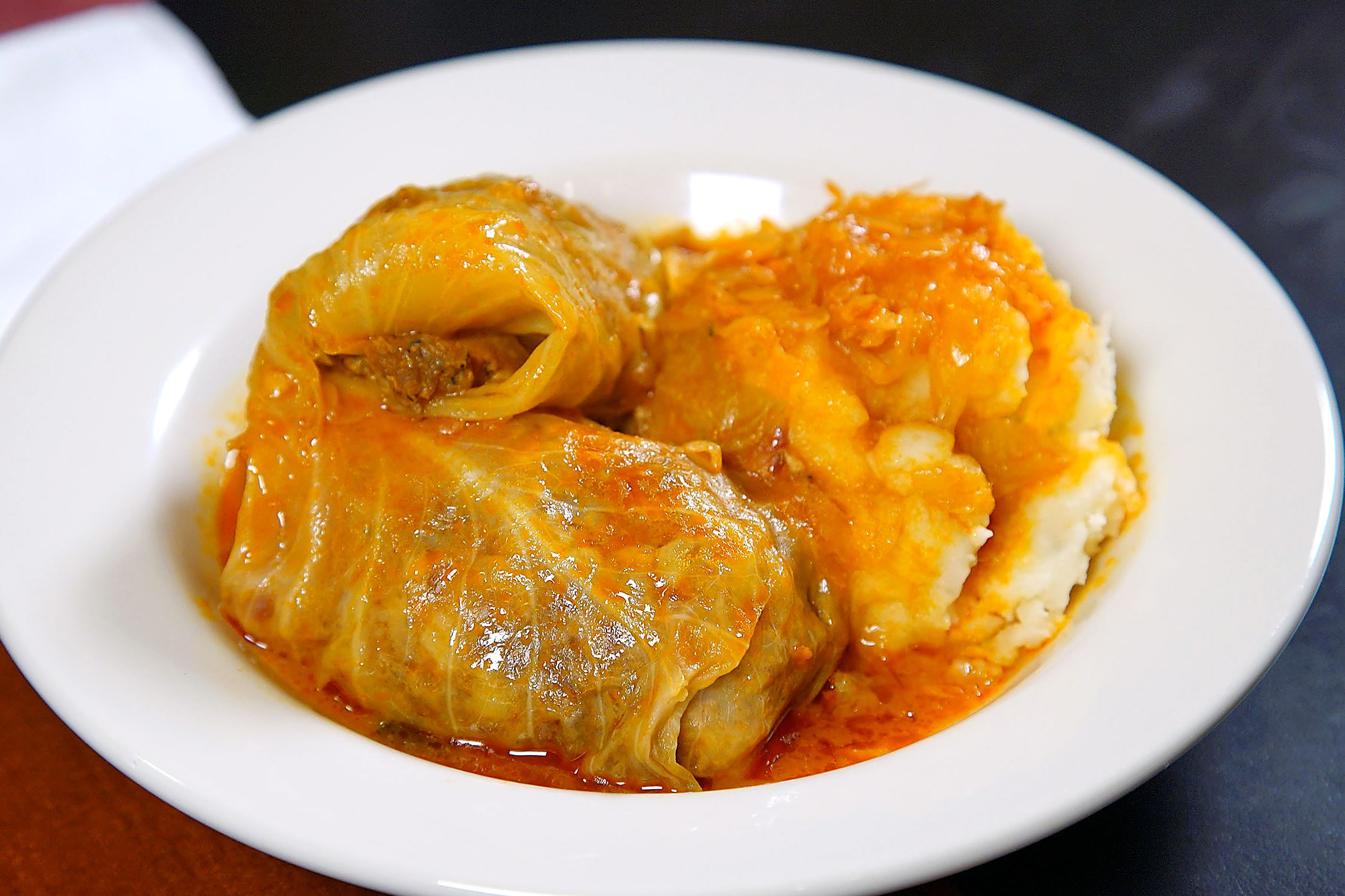 Bizarre_Emil_cabbage Cabbage rolls from Emil's Lounge are stuffed with a mixture of pork, beef, rice and seasoning.