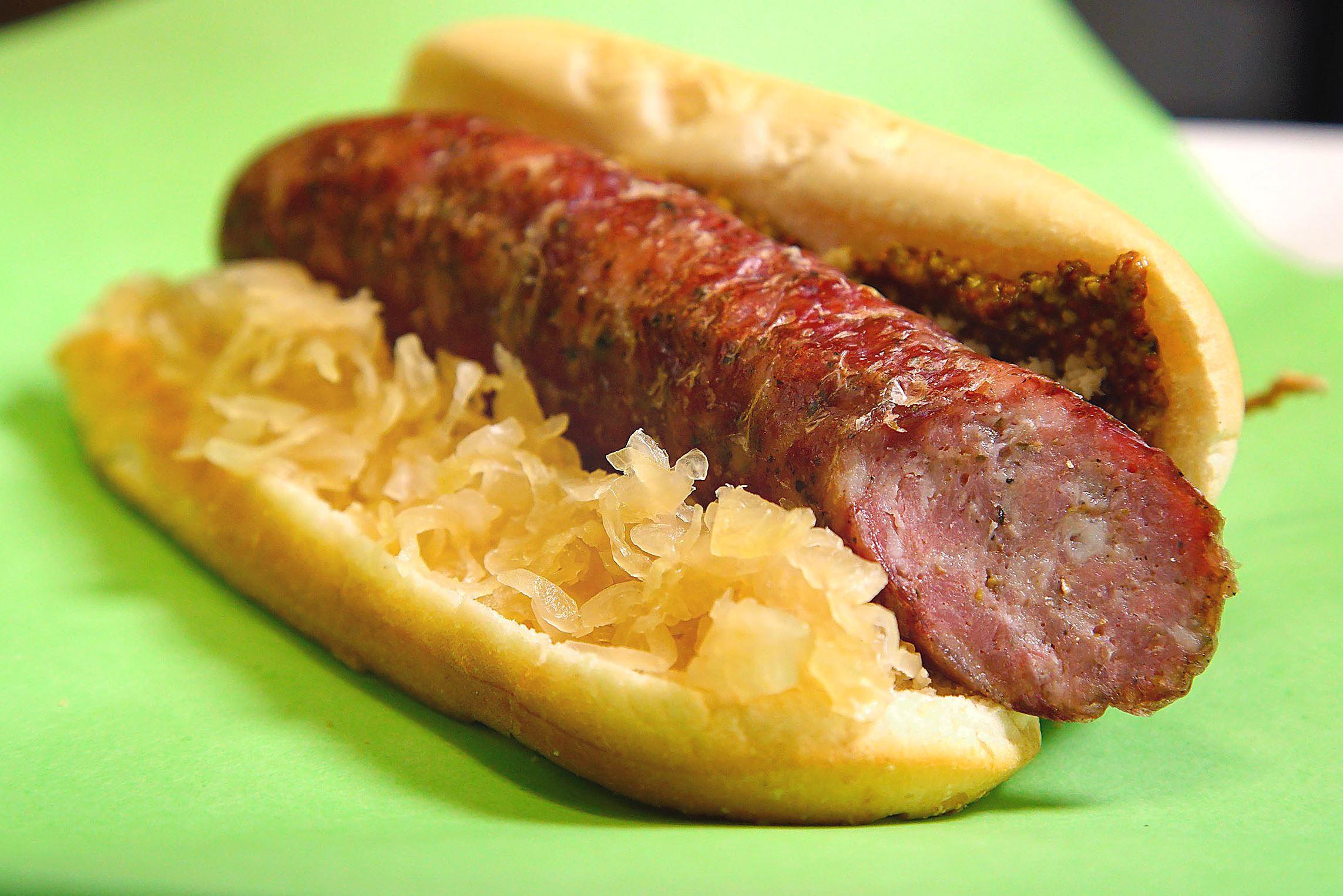 bizarre_butcher_butler_kielbasa Butcher on Butler's kielbasa is served with horseradish, Dijon mustard and sauerkraut.