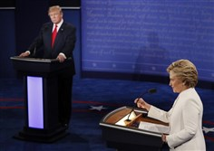 Republican presidential nominee Donald Trump debates Democratic presidential nominee Hillary Clinton during the third presidential debate at UNLV in Las Vegas Wednesday night.
