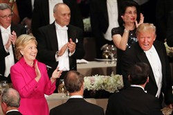 Hillary Clinton and Donald Trump appeared together Thursday night for a white-tie Al Smith charity dinner