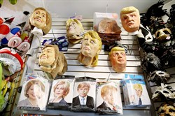 Hillary Clinton and Donald Trump costumes on display at Chicago Costume.