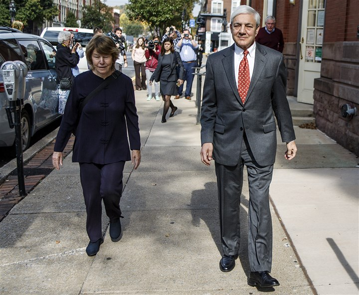Penn State Abuse Former Penn State President Graham Spanier leaves the Centre County Courthouse in October.