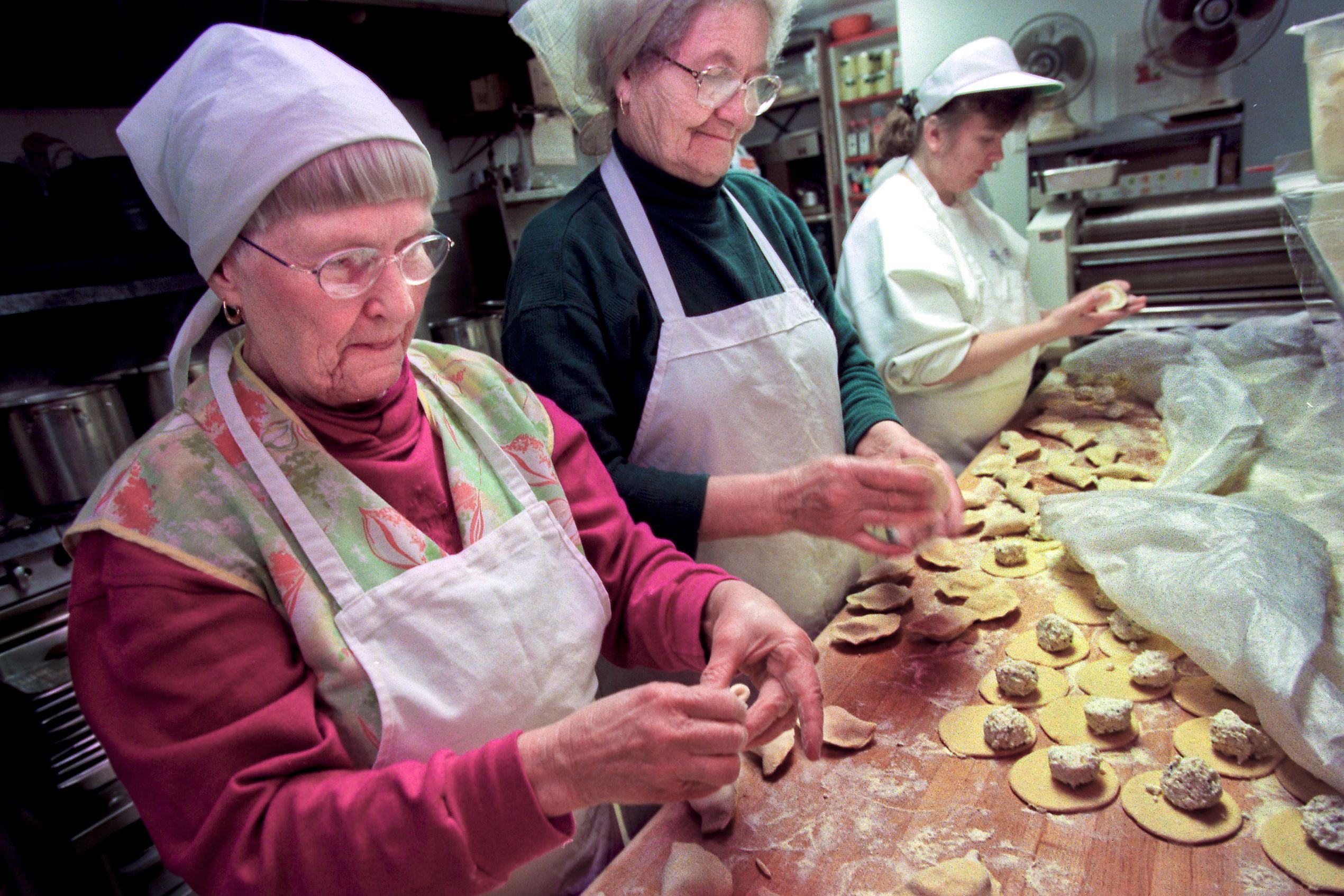 5PV00K2W At Pierogies Plus in McKees Rocks, the dumplings are made by hand.