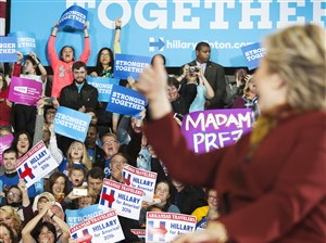 Hillary Clinton gives a thumbs-up to her cheering supporters at a rally at Taylor Allderdice High School in Squirrel Hill on Saturday.