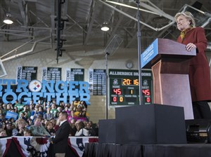 Hillary Clinton gives a speech at Allderdice High School in Squirrel Hill on October 22, 2016.