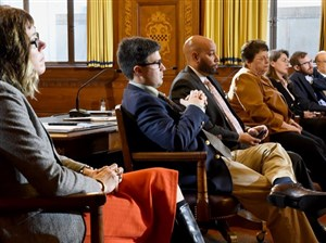 Members of Pittsburgh City Council left: Natalia Rudiak, Corey O'Connor, R. Daniel Lavelle, Darlene M. Harris, and Deborah L. Gross, Dan Gillman and Rev. Ricky Burgess