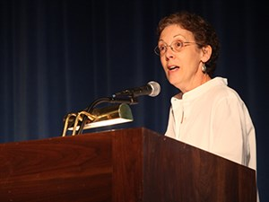 Macon Paine Finley, the new head of school at The Ellis School, speaks during a recent event at The John Burroughs School in St. Louis, where she had served as director of academics.