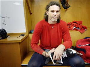 Jaromir Jagr in his stall after an Oct. 15 Florida Panthers practice.