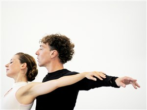 "Christopher Budzynski rehearses for the Pittsburgh Ballet Theatre production of ""Giselle"" with his wife, Alexandra Kochis."